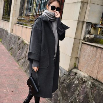 2017 Winter Wool Coats Jackets Women Thicken Warm Hooded Long Coat office Lady Clothing 77% Polyester J16DD0485