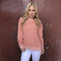 Side Line Tie Up Sweater In Coral