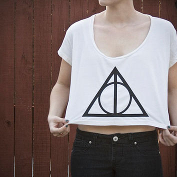 Deathly Hallows Loose Crop Tee - Harry Potter - One Size - Made to Order - American Apparel loose Crop top T