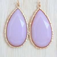 Lilac Large Teardrop Earrings - Earrings