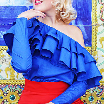 Royal Blue Cotton Top, Extravagant Off Shoulder Royal Blue Blouse, Cropped Cotton Ruffled Blouse TT120, ANDALUSIA