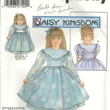 Daisy Kingdom Girl's Dress Simplicity 5437 Sizes 7 8 10 12 14 Matching Doll Clothes
