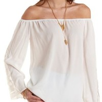 Ivory Crochet-Cuffed Off-the-Shoulder Top by Charlotte Russe