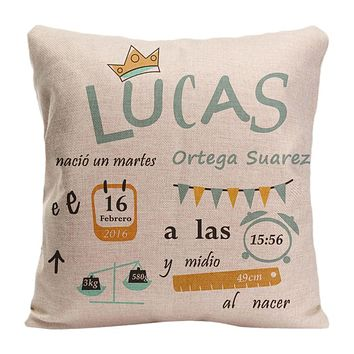 Customized Cushion cover for Nursery-Birth stats