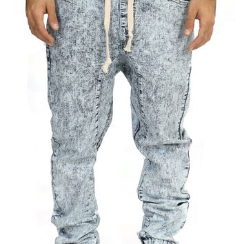 Drop Crotch Jogger Jeans in Ice Blue