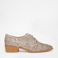 Dune Loris Gold Glitter Flat Shoes