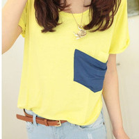 Womens Korean Fashion Candy Pocket Loose Short Sleeve T-Shirt 3 Colors E671 TQ
