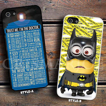 Tardis Doctor who quote & Despicable me minion batman