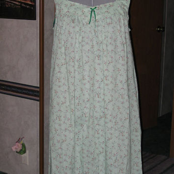 Handmade Green Floral Nightgown, Plus Size XL