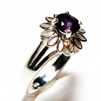 "Amethyst ring, amethyst petal ring, birthstone ring, solitaire ring, purple, s 6 1/2  ""Purple Petal Pushers"""