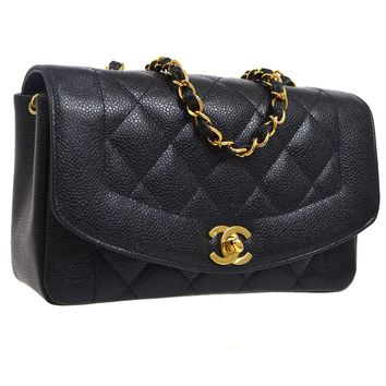 Auth CHANEL Diana Quilted Single Chain Shoulder Bag Black Caviar Leather AK20427