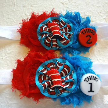 Children Story Thing 1 and Thing 2 Headband Set, Dr Seuss Headband