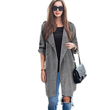 Big Yard Autumn Blazers Larger Size Women Coats Long Jackets Casual Spring Suit Cardigan Dark Grey Outwear