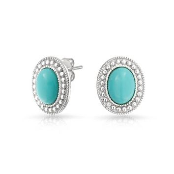Blue Gemstone Turquoise Bead Halo Oval Stud Earrings Sterling Silver