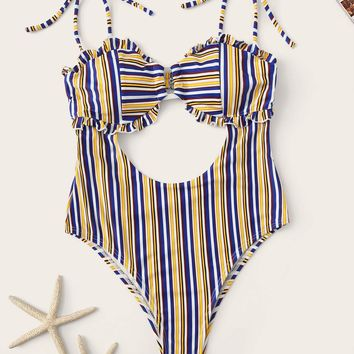 Striped Cutout Frill Trim One Piece Swimsuit