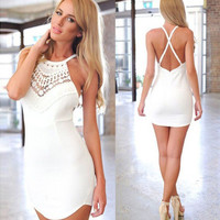 Lace Halter Cross-back Mini Dress In White or Blue