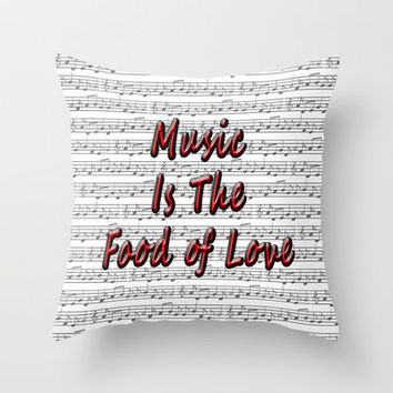 Music Love Throw Pillow by Alice Gosling | Society6
