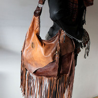 Rusted brown orange mix  fringe distressed slouchy hobo bag fall purse fringes agate stone  festival gypsy bag ethnic free people hobo