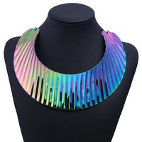 Holographic Iridescent Bib Torque Necklace