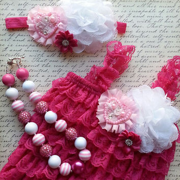 Lace Romper Set, Valentine's Romper, Valentines Outfit, Pink Romper, Petti Lace Romper Set, Photo Prop, Newborn Outfit Birthday Outfit