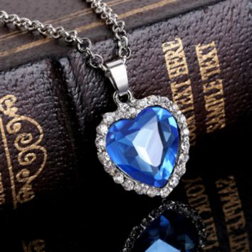 Titanic Heart Of The Ocean Necklace Silver Crystal Hearts Necklaces Pendants For Women