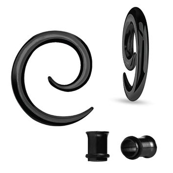 BodyJ4You Gauges Kit Spiral Hollow Light Taper Tunnels Black Surgical Steel 8G 3.2mm Body Piercing Jewelry Set 4 Pieces