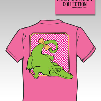 Sassy Frass Southern Collection Preppy Alligator Gator Bow Neon Pink Bright Girlie T Shirt