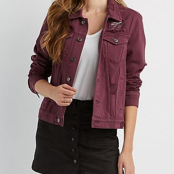 Refuge Boyfriend Destroyed Denim Jacket | Charlotte Russe