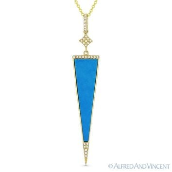 Blue Turquoise & 0.08ct Diamond Pave Pendant & Chain Necklace in 14k Yellow Gold