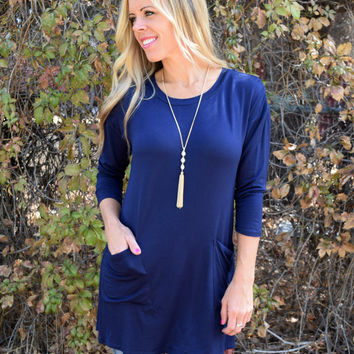 McCall Button Back Tunic - Navy