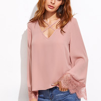 Pink Crisscross V Neck Lace Trim Top -SheIn(Sheinside)