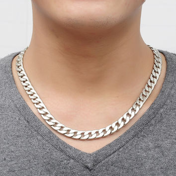 Men's Fashion Jewelry Alloy Silver Necklace gift for husband Cool Link Chain Genuine Solid Titanium Steel Thick Chain