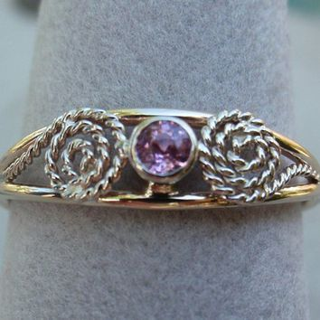 Pink Sapphire Ring Natural Scrollwork 14K White Yellow Gold Hand Made Artisan Made
