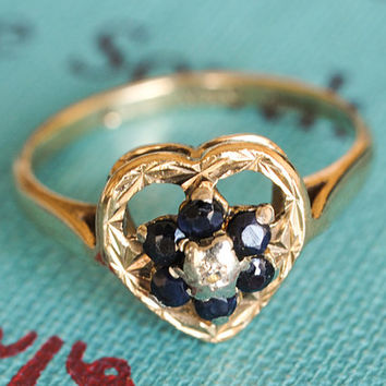 Vintage Sapphire & Diamond Ring, Vintage Engagement Ring, 9k Yellow Gold Filigree Heart Wedding Band Ring, Anniversary Ring