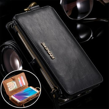 Hot Sale Floveme Leather Case for Samsung Galaxy Note 3 4 5 7 S7 Business Luxury Multifunction Wallet Phone Bag with Card Holder