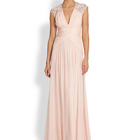 Embellished Shirred Silk Chiffon Gown