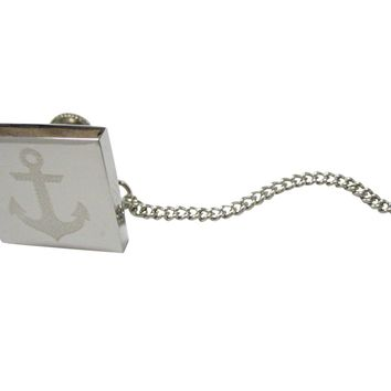 Silver Toned Etched Nautical Anchor Tie Tack