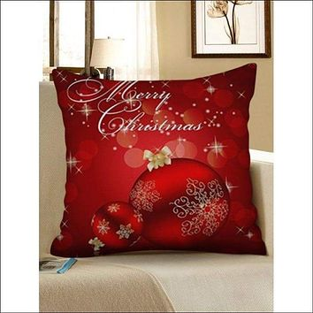 Christmas Snowflakes Baubles Pattern Pillow Case - Ruby Red W18 X L18 Inch