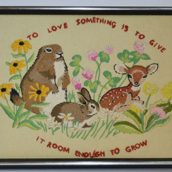 Vintage Crewel Embroidery Picture Animals Nature Picture Embroidery Doe Rabbit and Ground Hog Wall Art Children's Room Baby Nursery Picture