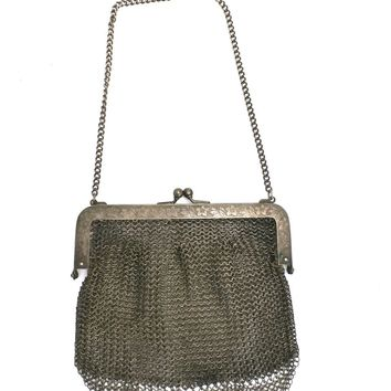 Antique Vintage Bag German Silver Metal Mesh Purse Edwardian