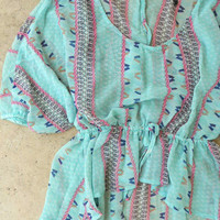 Backroads Blouse in Mint [4127] - $24.00 : Vintage Inspired Clothing & Affordable Summer Frocks, deloom | Modern. Vintage. Crafted.
