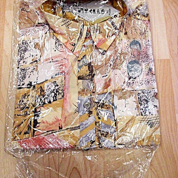 Vintage Deadstock Near Mint Crazy Print Grunge Pattern Shirt XL