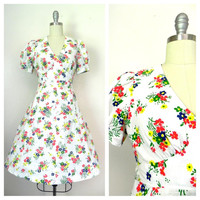 Mid 1960s Vintage Handmade White Floral Dress