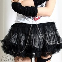 Gothic Punk Silver Spray Paint Cross Crucifix Tutu Skirt+Chained Fingerles Glove