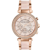 Michael Kors Parker Rose Gold Tone & Blush Chronograph Watch | Dillards