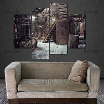 Decoration for living room canvas painting wall 4 Panel Wall Art Abandoned Factory Industrial Background Machine Messy Painting