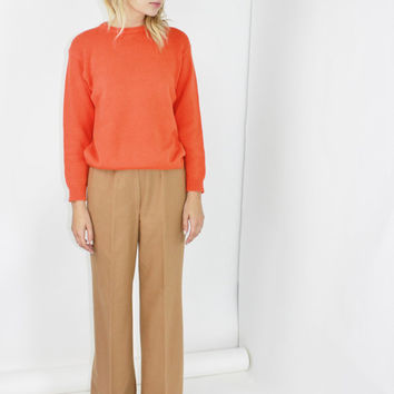 HEAVY crewneck sweater orange corded knit pullover minimalist jumper color block SMALL SM S casual basics wardrobe staple vintage nordstrom