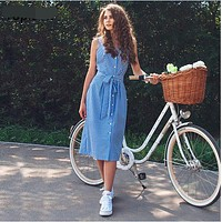 New Female Bow 2017 Women's Summer Striped Dresses Fashion Cotton Linen Blue Midi Bodycon Dress Sleeveless Elegant Hip Vestidos