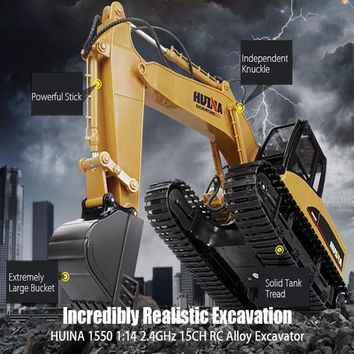 HUINA 1550 RC Crawler Car 15CH 2.4G 1:14 RC Metal Excavator Remote Control Alloy Rooter Charging Truck RTR Independent Arms