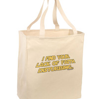 Lack of Faith Large Grocery Tote Bag